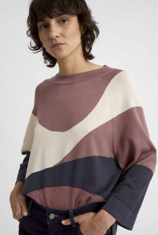 fijn gebreide trui met grafische vlakken japaandi 30003236