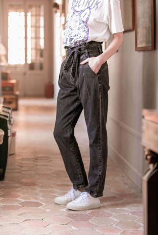 high waist paperbag jeans van katoen artus stone