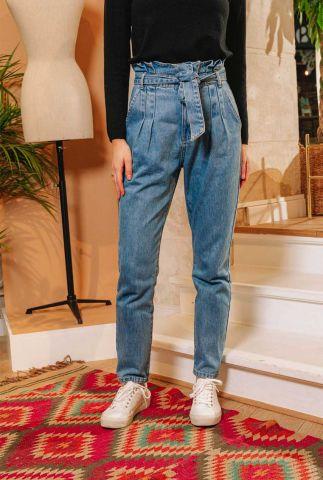 denim high waist paperbag jeans van katoen artus stone