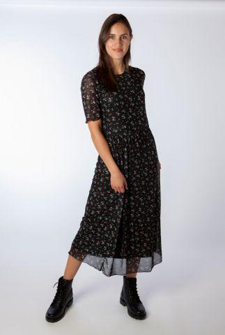 zwarte midi jurk met bloemen dessin jed print dress