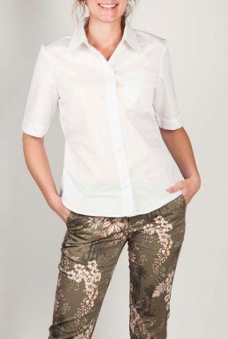 witte blouse met korte mouw en elastische band jenna shirt