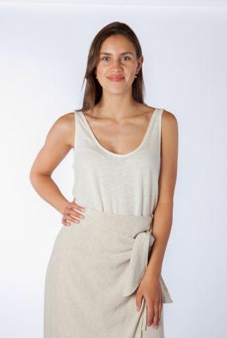 witte mouwloze top met lage rug van linnenmix jenna