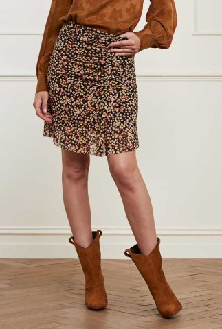 zwarte mesh rok met bloemen dessin jessy short skirt confetti