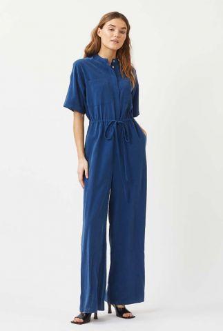 donkerblauwe viscosemix jumpsuit met wijde pijpen jilly 7027