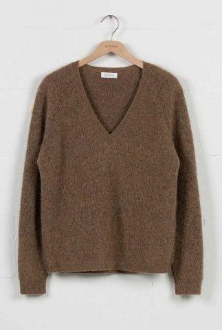 bruine trui van een alpaca mix met v-hals sweater mere jk0281