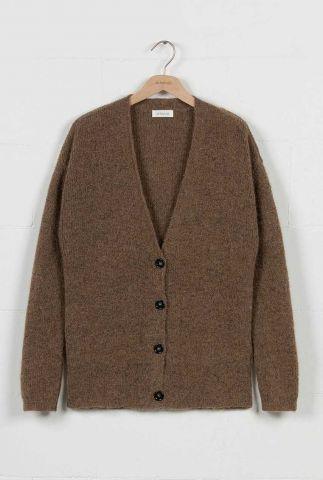 donkerbruin vest met v-hals en knoopsluiting cardigan kobi jk0381
