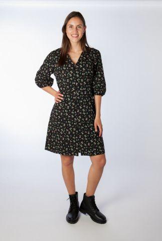 zwarte jurk met bloemen dessin en v-hals joss print dress
