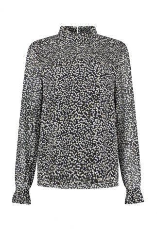 zwarte top met hoge hals en print jossie blouse w20.57.1546