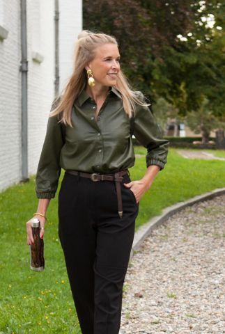 leger groene leer look blouse met 3/4 mouwen 7520001 nubelen shirt