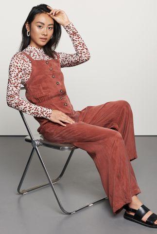 roest kleurige jumpsuit met knoopsluiting js jina