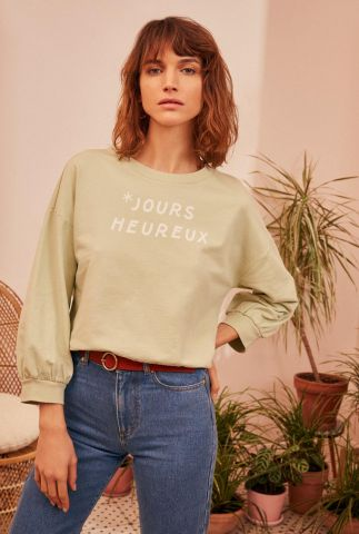 licht groene sweater met tekst opdruk jours heureux jumi