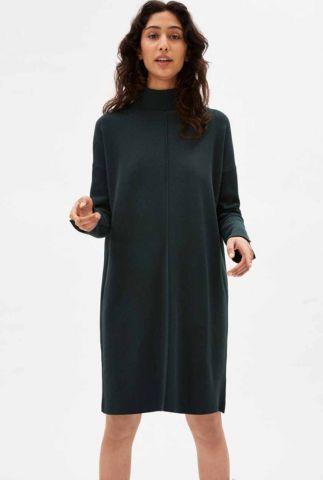donkergroene gebreid jurk met col kraag siennaa 30001626