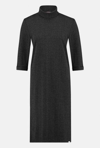 donker gemêleerde midi jurk met col kraag en 3/4 mouwen w20n790