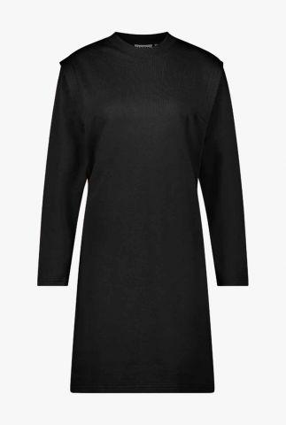 zwarte katoenen jurk met schouderdetails kasuga dress