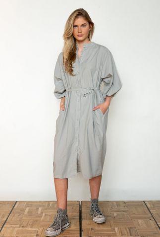 lichtgrijze katoenen jurk met pofmouwen w21w361lab