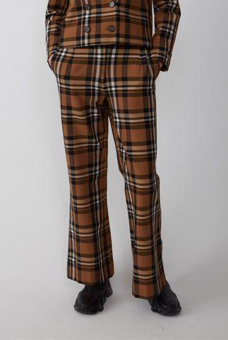 bruine viscosemix broek met flared pijpen en ruit dessin elva trousers