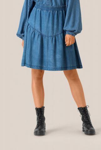 zachte blauwe lyocell rok met denim look lyle mw short skirt