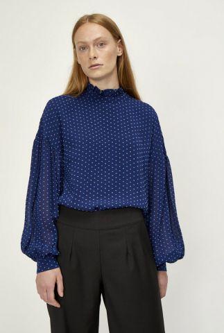 blauwe top met lichtblauwe vierkantjes en wijde lange mouwen milou blouse