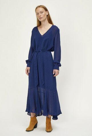 blauwe maxi jurk met lichtblauwe vierkantjes milou maxi dress