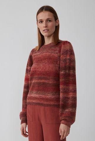 rode trui met strepen dessin en pof mouwen dreas knit