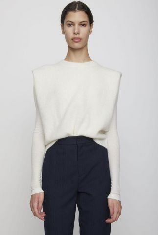 off-white spencer van een zachte mohair wolmix coldy knit vest