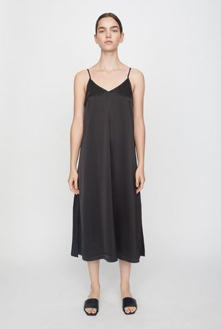 zwarte midi jurk met v-hals en spaghettibandjes clear singlet dress