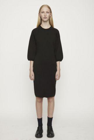 zwarte jurk met ronde hals en 3/4 mouwen palma knit dress