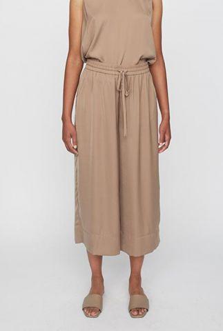 wijde beige broek met elastische tailleband wonder pants