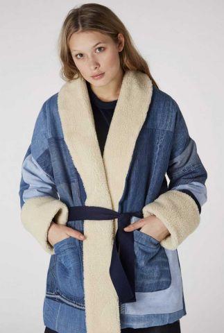 denim kimono jas met teddy voering shotoku k180702075