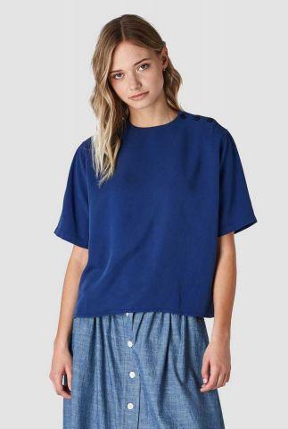 blauwe soepel vallende top met knoopdetails ayako k200103010