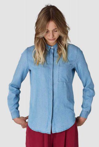 zachte denim blouse van tencel met borstzakje taja k200103032