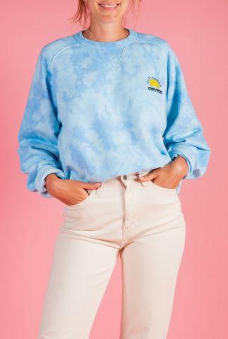 blauwe tie dye sweater met smiley opdruk parnell k200155035