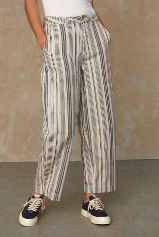 beige high rise broek met streep dessin leila pants K210100015