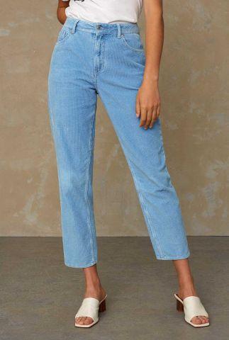 blauwe high waist broek met rib dessin caroline pants K210100025