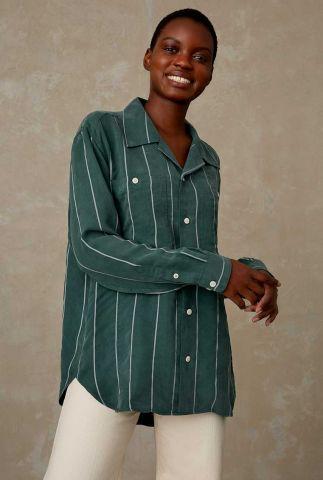 zachte donker groene blouse met wit streep dessin maud K210703004