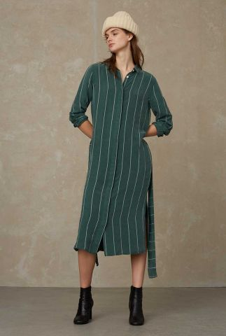 zachte groene jurk met witte streep en ceintuur maggy K210707002