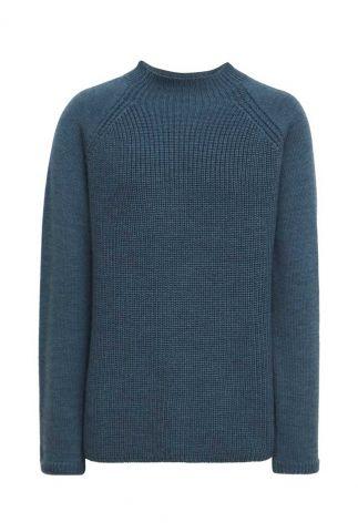 blauw gebreide trui van merino wol katty jumper