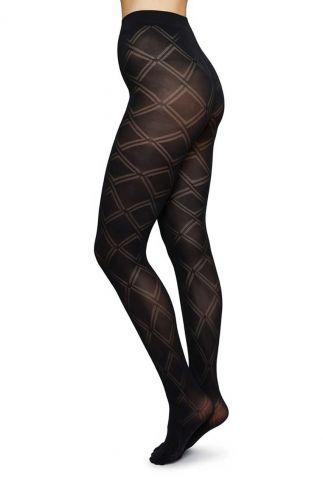 zwarte 70 denier panty met ruit motief kajsa panty