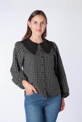 grijs geruite blouse met zwarte kanten kraag kalli 1993