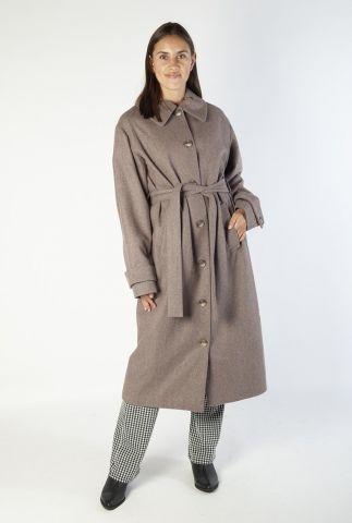 donkergrijze mantel jas met kraag en ceintuur karina coat
