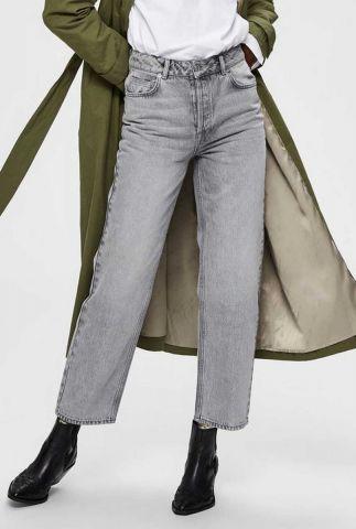 grijze straight fit jeans gemaakt van biologisch katoen kate straight jeans