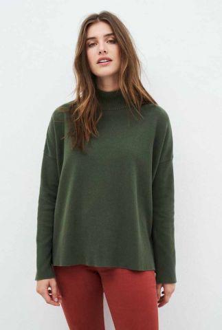 donkergroene gebreide trui met col kraag kate knit 202160