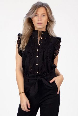 zwarte broderie blouse met ruches katie blouse s21.91.1044