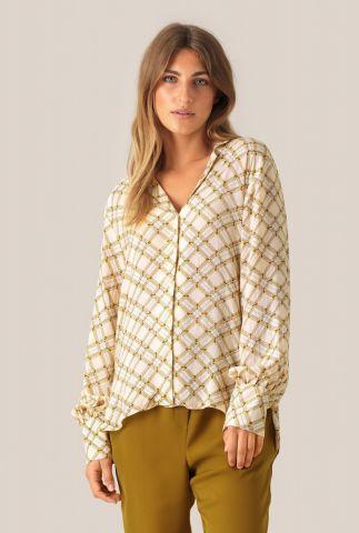 crème kleurige blouse met gekleurde ruiten print katt ls shirt
