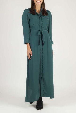 petrol kleurige maxi blouse jurk met ceintuur Kaira