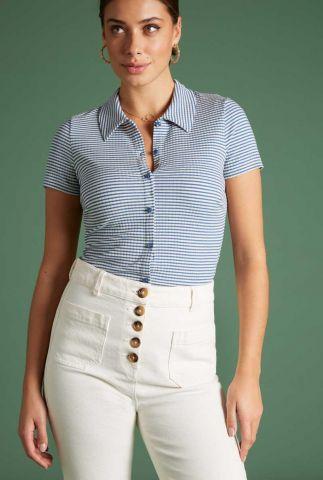 jersey blauw met wit gestreepte blouse tweedy stripe 06251