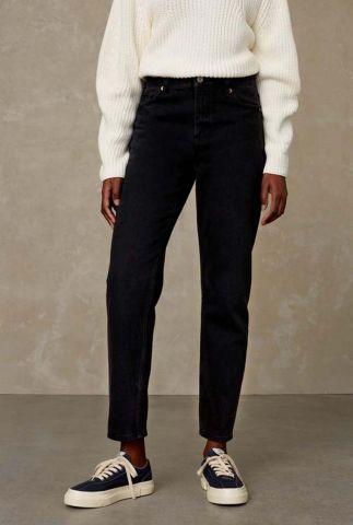 zwarte straight fit jeans met high waist caroline K210701202 black