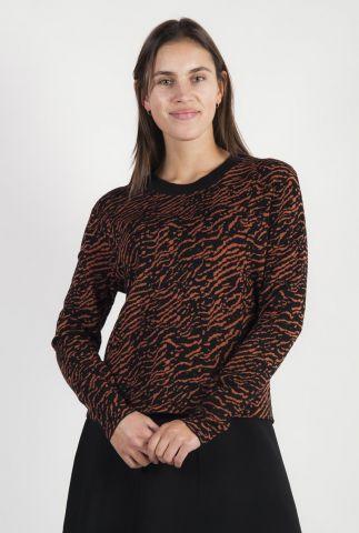 zwarte trui met ingeweven tijger strepen dessin kn jagger