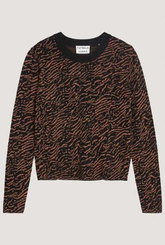 zwarte trui met roest tijger strepen kn jagger