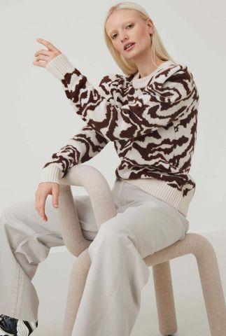off-white trui met ingebreid dieren dessin en pofmouwen kn lea